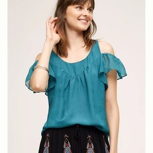 Anthropologie Maeve Tavin Open-Shoulder Blouse